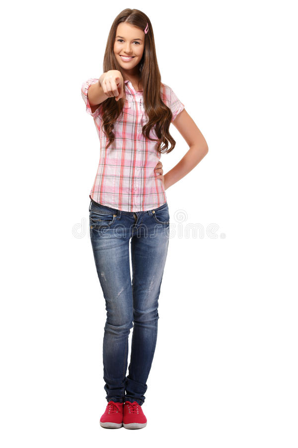 Nice student pointing at you stock photos