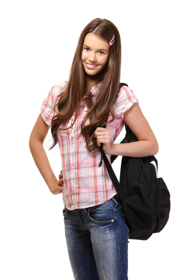 Nice student with school bag royalty free stock images