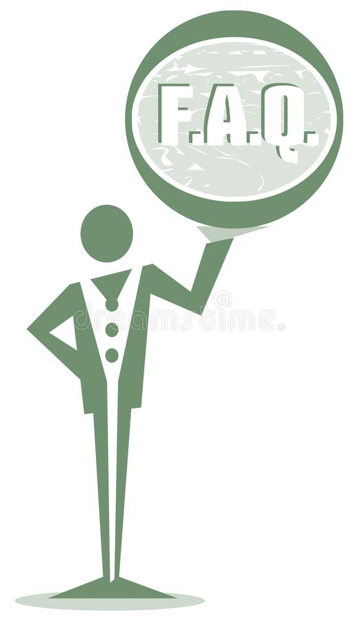 Download Nice Stylized Man And Sign With Written Faq Isolated Stock Vector - Image: 83719856