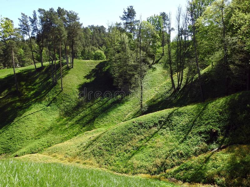 Beautiful Sudargo mound near river Nemunas, Lithuania royalty free stock image