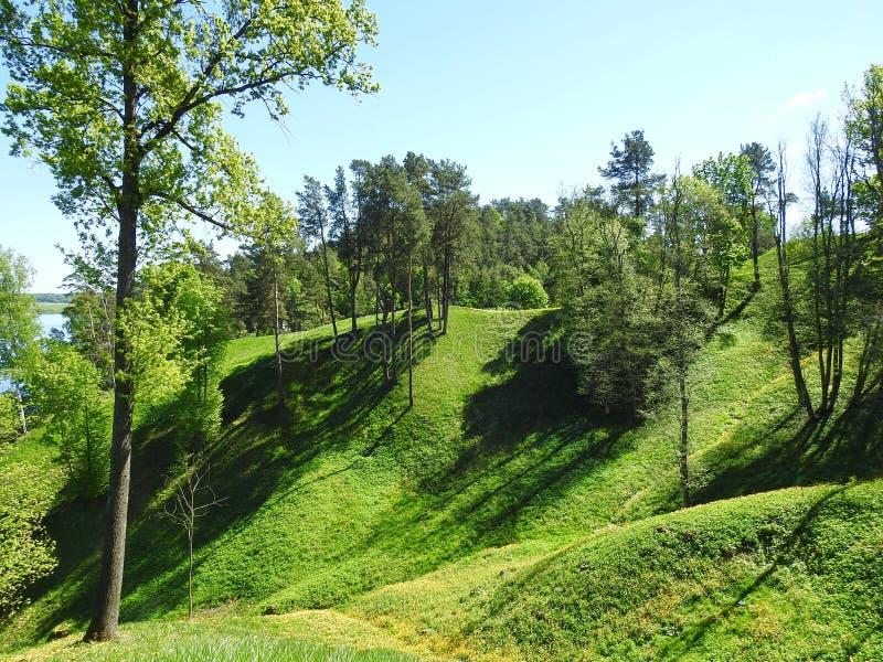 Beautiful Sudargo mound near river Nemunas, Lithuania stock photo