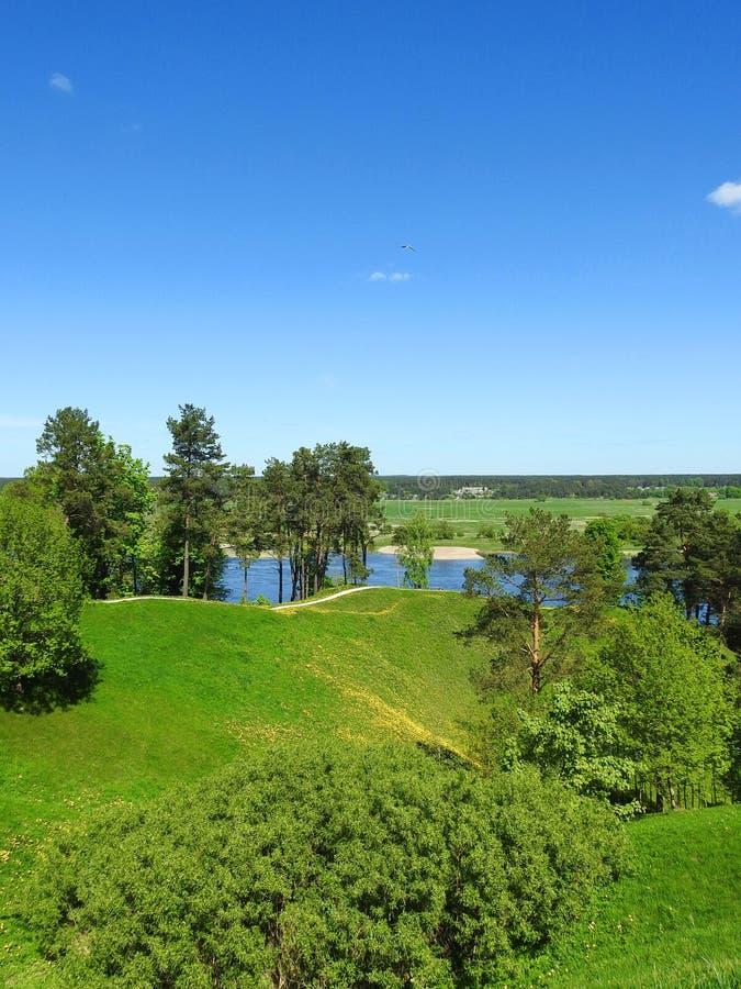Beautiful Sudargo mound near river Nemunas, Lithuania stock images