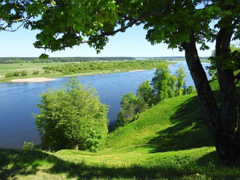 Beautiful Sudargo mound near river Nemunas, Lithuania royalty free stock photo