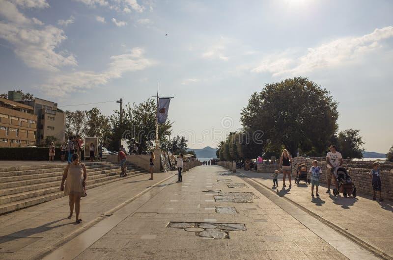 Nice sunny day in city of Zadar Croatia. Zadar / Croatia - 16 09 2019, Nice sunny day in the city, People walking outdoor stock image