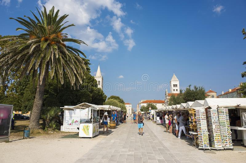 Nice sunny day in city of Zadar Croatia. Zadar / Croatia - 16 09 2019, Nice sunny day in the city, People walking outdoor royalty free stock photos
