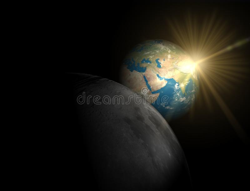 Nice sunrise in space stock images