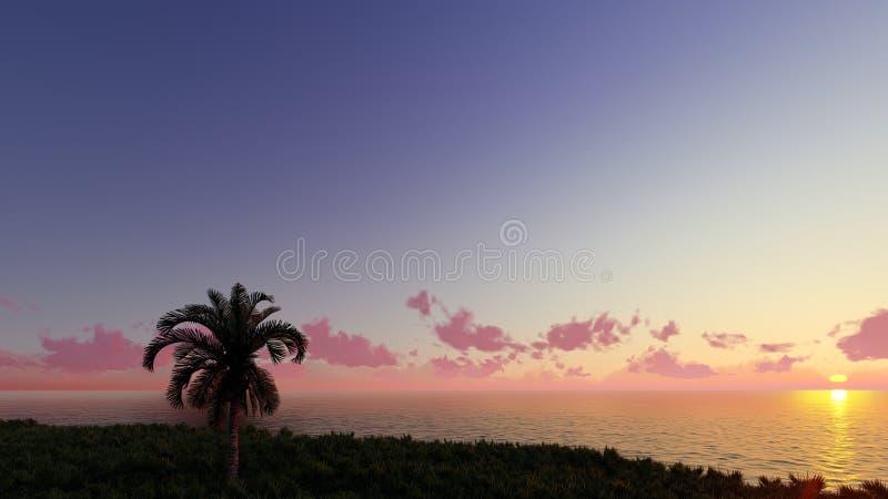 Nice sunset 3D render stock illustration