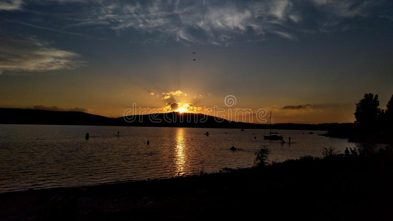 Nice sunset in the Lipno royalty free stock image