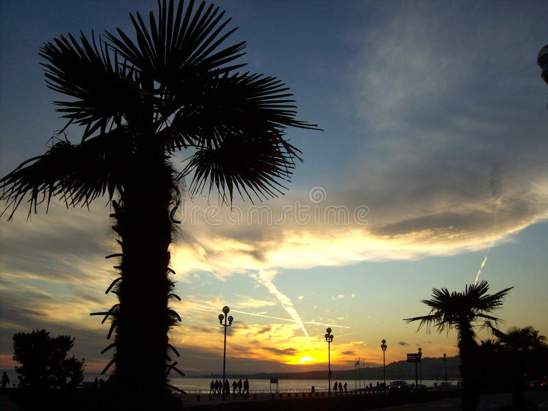 Nice, sunset, waterfront stock image