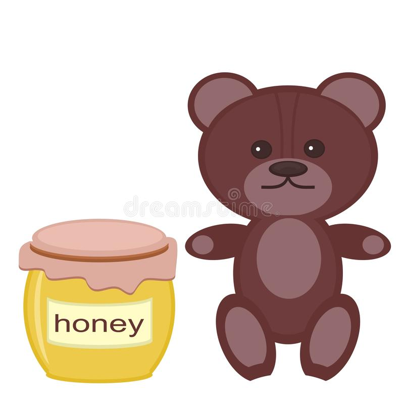 Download Nice Teddy Bear With Honey On White Royalty Free Stock Image - Image: 24666136