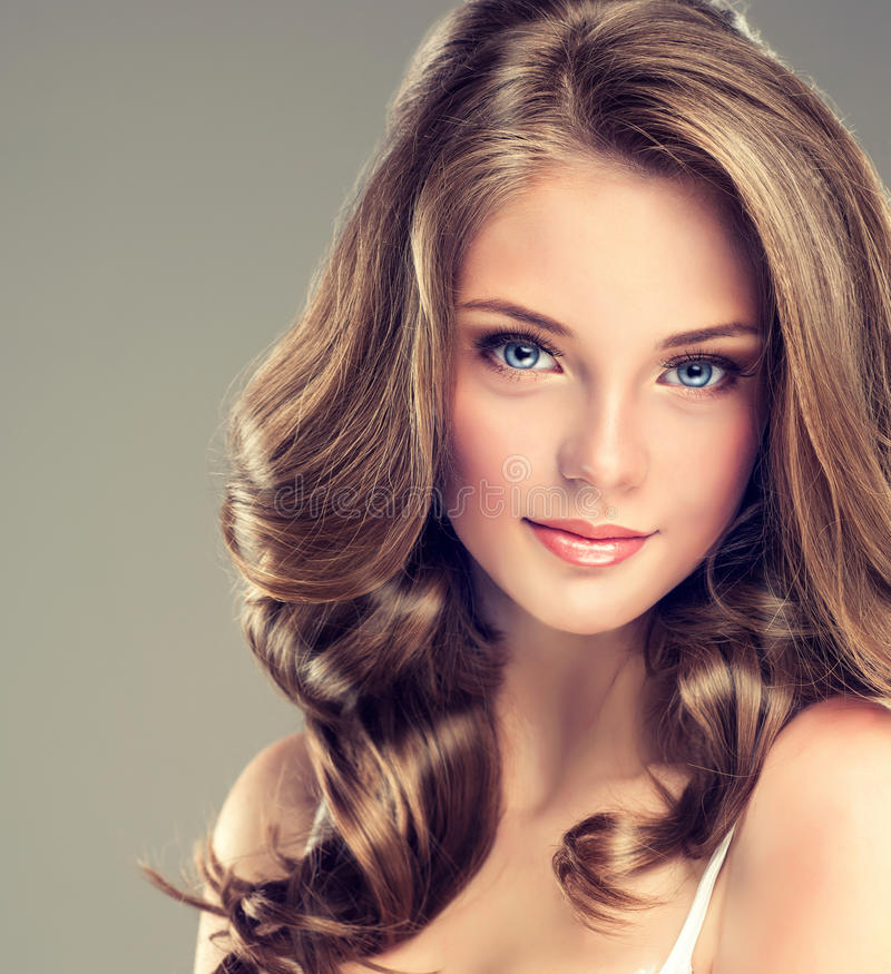 Girl Hairstyle Download Video: Nice And Tender Look Of Young Girl. Stock Photo