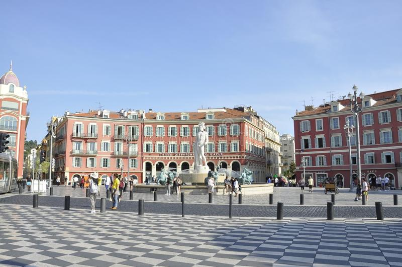 Nice, 4th september: Fountain Du Soleil on Massena Square from Nice in France. The Famous Fountain du Soleil on Place Massena in  Metropola Nice from French stock photos