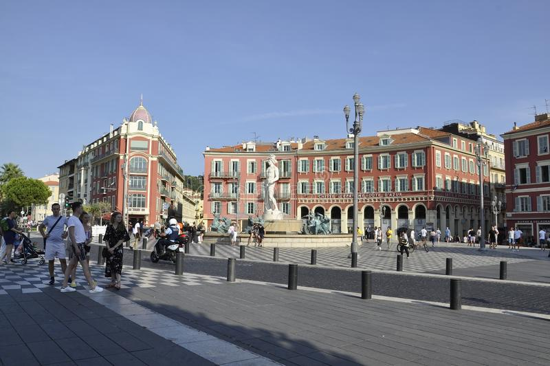 Nice, 4th september: Fountain Du Soleil on Massena Square from Nice in France. Famous Fountain du Soleil on Place Massena in  Metropola Nice from French Riviera royalty free stock image