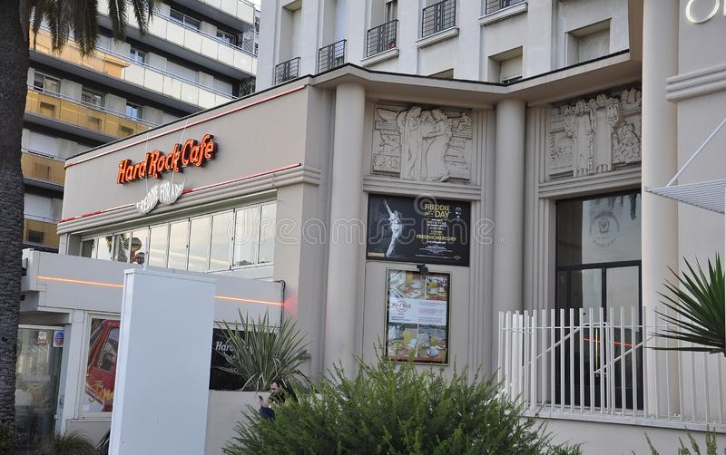 Nice, 5th september: Hard Rock Cafe entrance from the famous Promenade des Anglais boulevard in Metropola Nice stock images