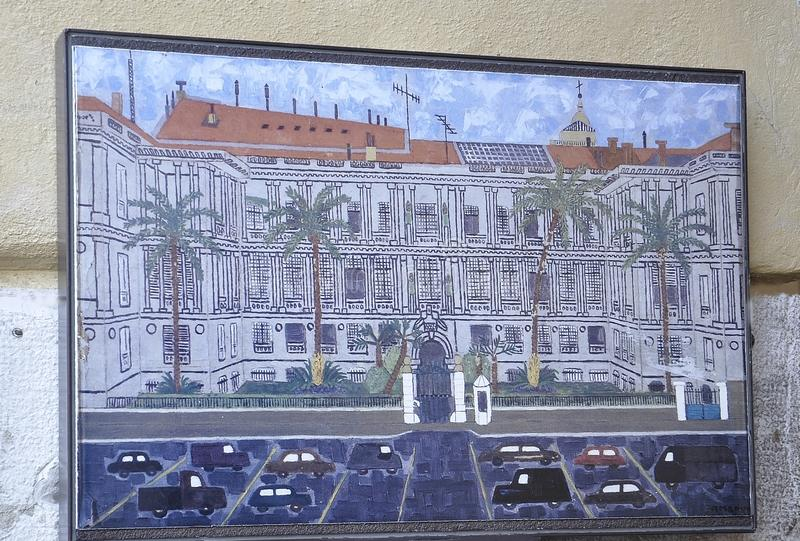 Nice, 5th september: Illustration of Palace of Prefecture building in Place Pierre Gautier from Nice France. Photo with Palace of Prefecture building or Dukes of royalty free illustration