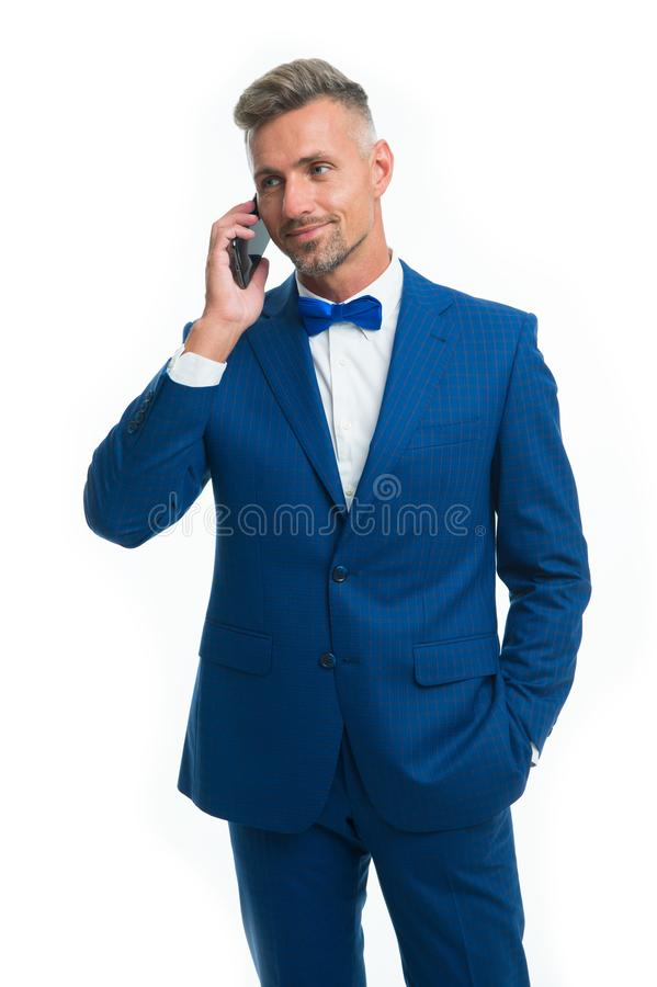 Nice to hear. Entrepreneur control business phone call. Asking for assistance. Businessman call smartphone delegation stock photo