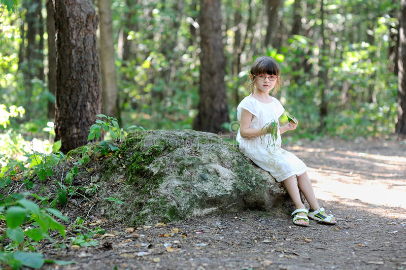 Nice toddler girl in the summer forest stock photo