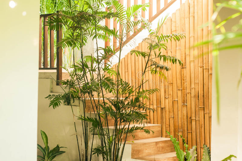 A nice traditional bamboo interior design on stair photo taken in yogyakarta indonesia stock images