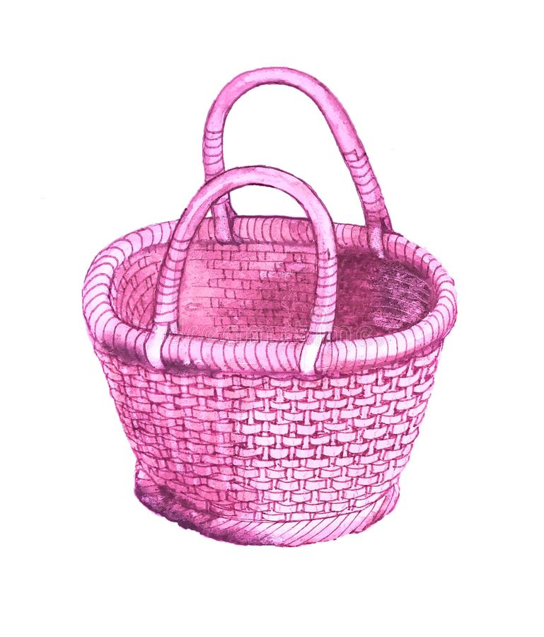Nice traditional pink wicker basket with handles. Comfortable nice traditional pink wicker basket with handles, watercolorn the picture is decorated with purple vector illustration