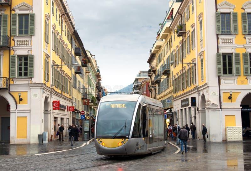 Nice - Tram in het centrum van stad royalty-vrije stock afbeelding