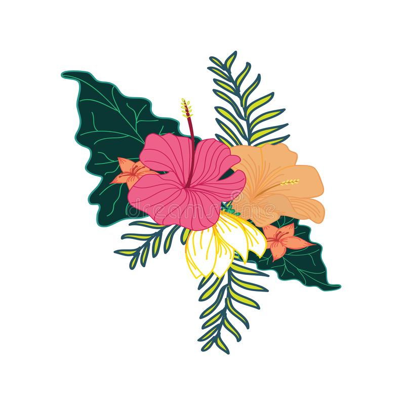 Nice Tropical Flower Foliage Composite Design. Nice Tropical Flower Foliage Composite Vector Symbol Graphic Design vector illustration
