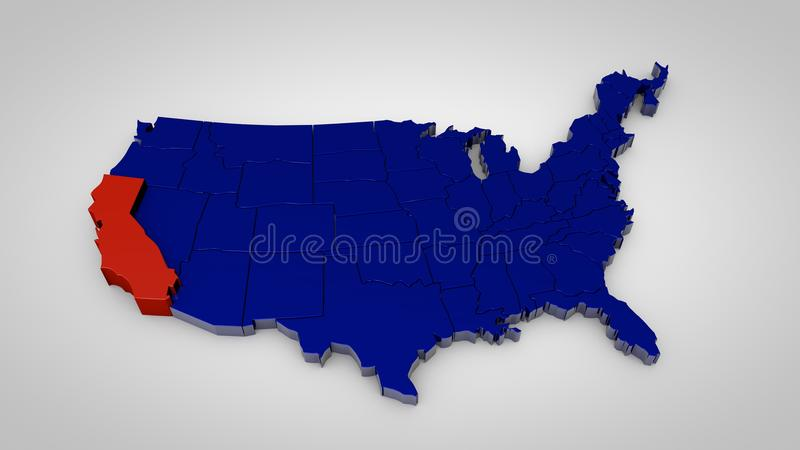 Usa map with california map highlited 3d render stock illustration