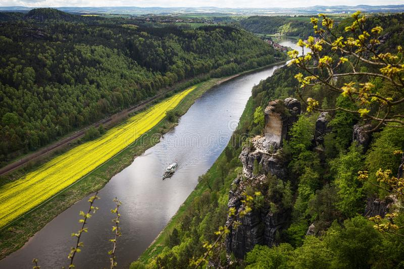 A nice view from the Bastei Bridge.  stock photography