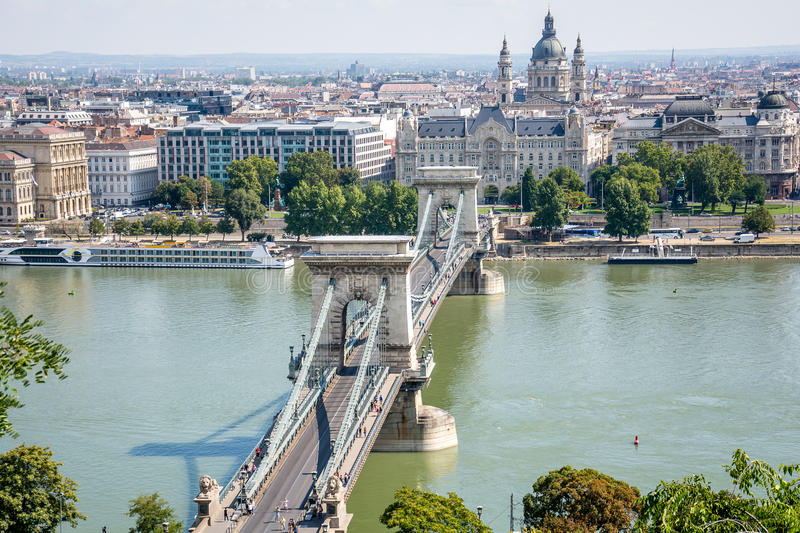 Nice view from Budapest Parliament, Danube River and the Bridge stock photography
