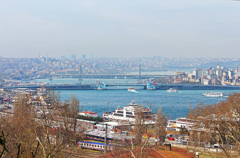 Nice view of Istanbul and Galata Bridge, Istanbul, Turkey. Nice view of Istanbul and Galata Bridge that crosses the Golden Horn, Istanbul, Turkey stock image