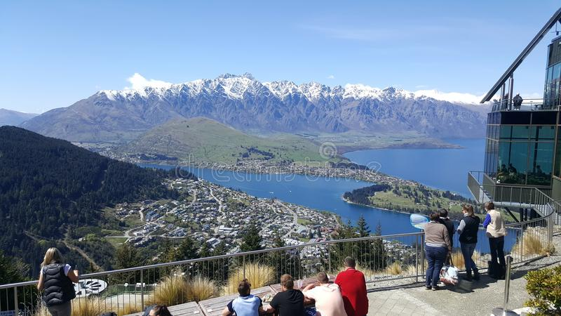 Queenstown New Zealand, looking over lake wakatipu stock images