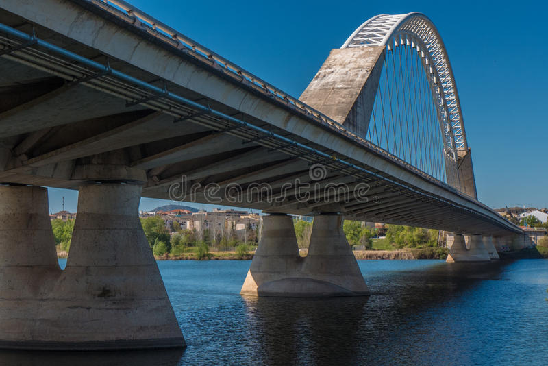 A nice view on the perspective of the Lusitana bridge royalty free stock photo