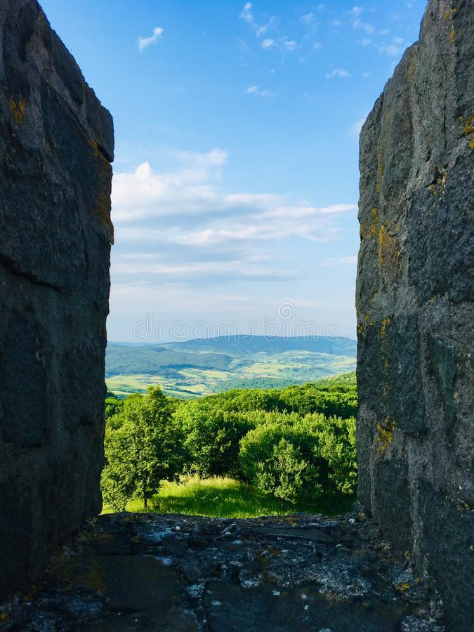 Nice view from Porolissum roman castrum ,Transylvania, Romania. Porolissum was an ancient Roman city in Dacia. Established as a military camp in 106 during stock images