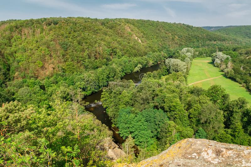 Nice view to valley with river Dyje and small bridge, national park Podyji, Czech republic.  royalty free stock photos