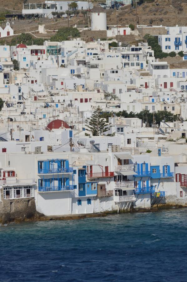 Nice Views From The High Seas Of The Little Venice Neighborhood In The City Of Chora On The Island Of Mykonos. Art History Archite stock images