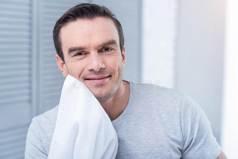 Nice vigorous man wiping after shaving. Good morning. Pleasant energetic cheerful man scratching his chick with a towel and grinning while wearing grey shirt royalty free stock photography