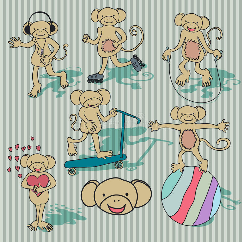 Download Nice Vintage Vector Monkey Set. EPS8 Stock Vector - Illustration: 21239854