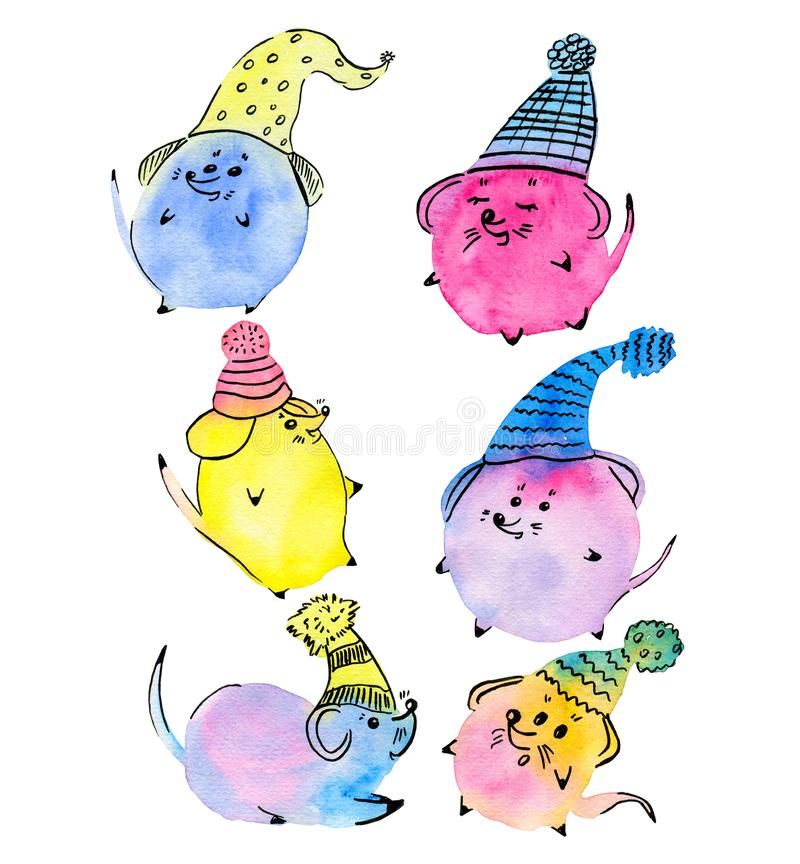 Nice watercolor colorful mouse in ornamental cap. Funny hand drawn symbols of the New Year 2020. For use card, poster, calendar, invitation, decoration kids stock illustration