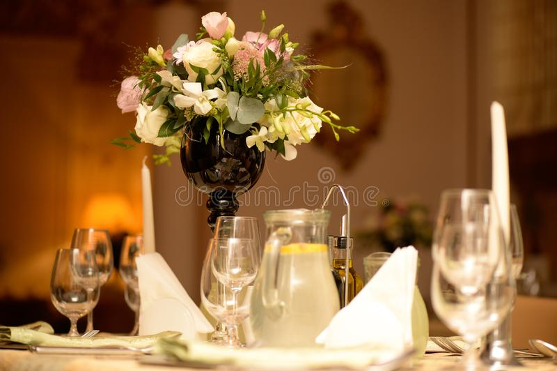 Nice wedding table decoration stock photography
