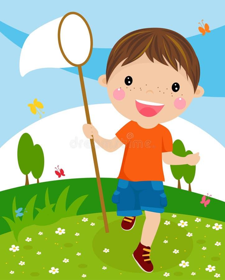 Nice weinig jongen met netto vlinder royalty-vrije illustratie