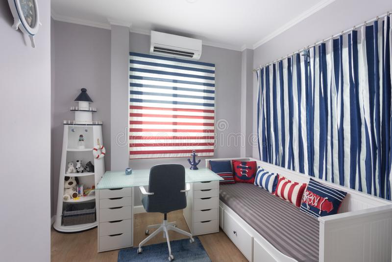 Nice white ÑŒstylish modern bedroom royalty free stock photography