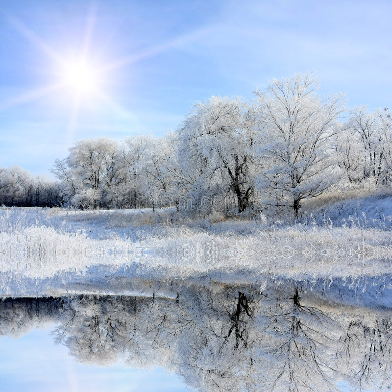 Free Nice Winter Lake Scene Royalty Free Stock Images - 7689829