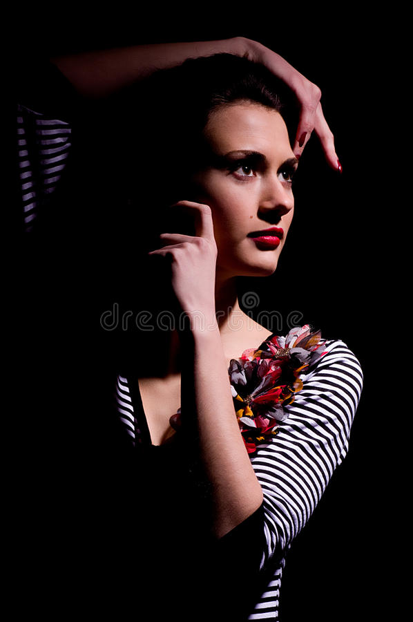Nice woman in dark royalty free stock images