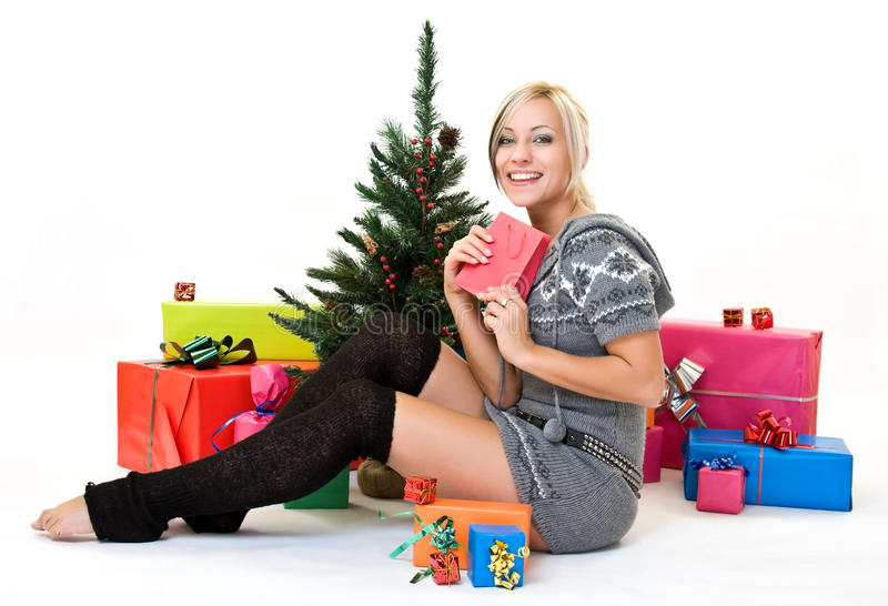 Download Nice Woman Glad Her Present Stock Photo - Image: 11942468