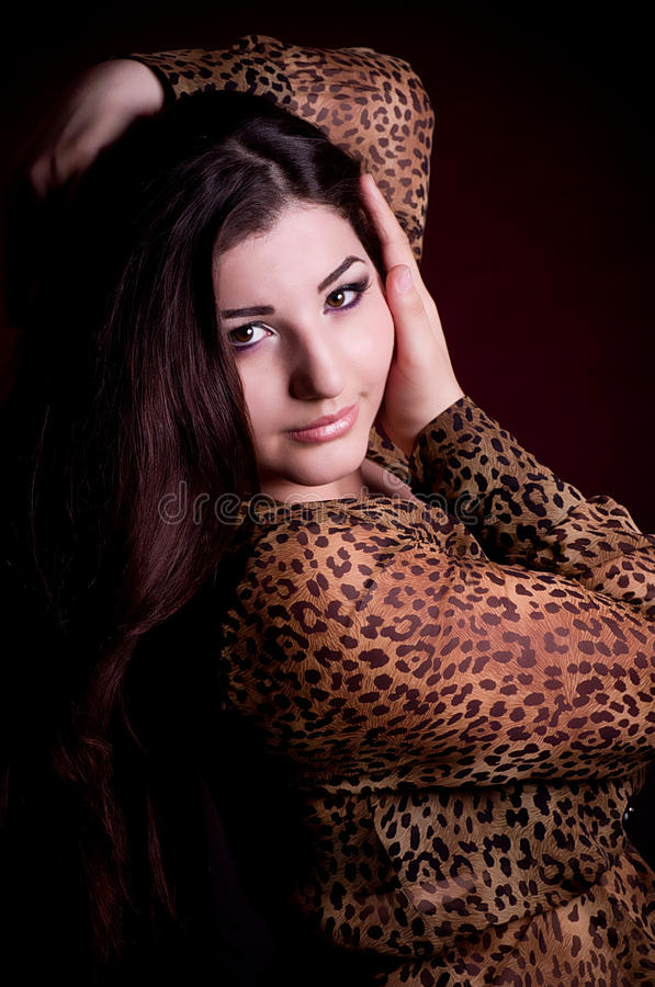 nice woman with long hair stock images