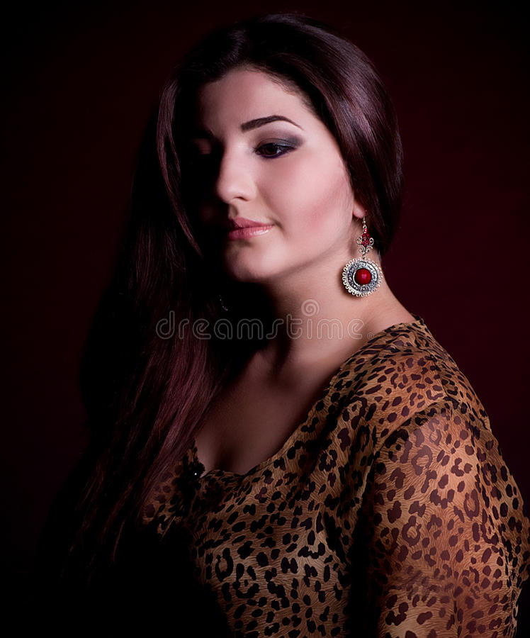 nice woman with long hair royalty free stock photos