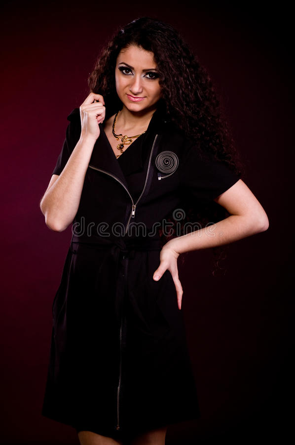Nice Woman With Long Ringlets Hair Royalty Free Stock Image