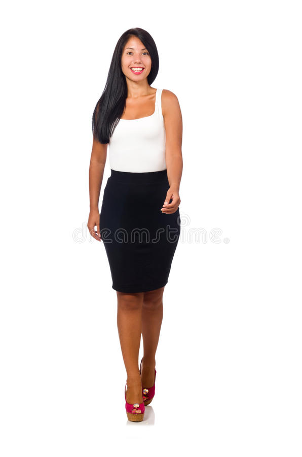 The nice woman model isolated on the white background royalty free stock photography