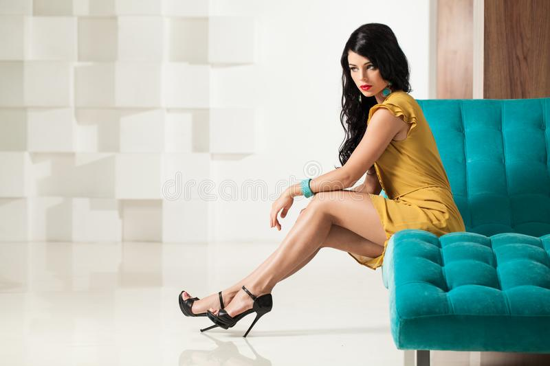 Nice Woman with Perfect Legs. Brunette Hair Model. In Black High Heels Shoes stock images