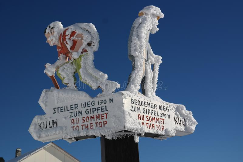 Prior signage to the Rigi summit stock photos