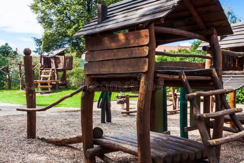 Nice wooden playground royalty free stock photos